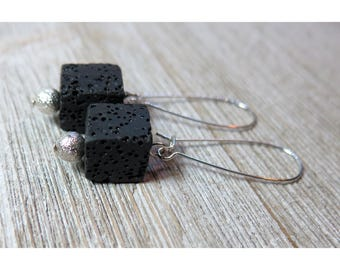 Genuine Lava Cube Bead Kidney Wire Earrings - 10 Colors