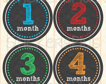Baby Boy Monthly Stickers Baby Month Stickers Chalkboard Chalk Sketch PRECUT Baby Age Bodysuit Milestone Stickers Baby Shower Gift