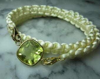 Lemon quartz silk velvet Lily Charms summer Rose Gold Friendship bracelet