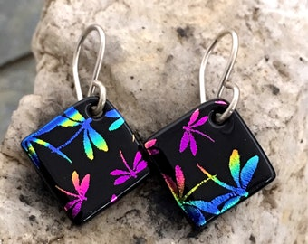 Small Pretty Rainbow Dragonfly Dichroic Glass Earrings