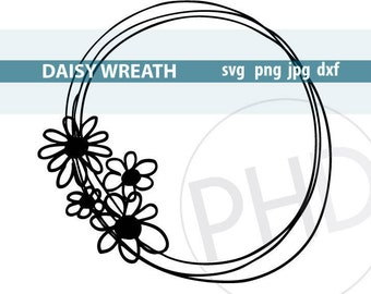 Daisy Wreath File-svg, png, jpg, dxf