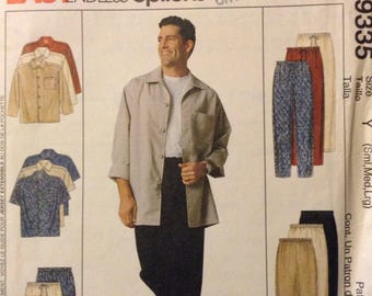 UNCUT Sewing Pattern McCall's 9335 Men Shirts, Pull-On Pants and Shorts Chest 34-44 inches uncut Complete
