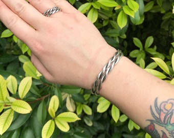 Sterling silver twisted cuff bracelet / stacking cuff / twisted cuff