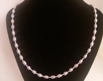 Lilac and White Fresh Water Pearl Necklace
