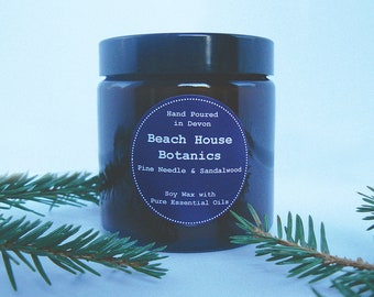 Pine Needle & Sandalwood Soy Wax Candle with Essential Oils-Amber Jar 120ml