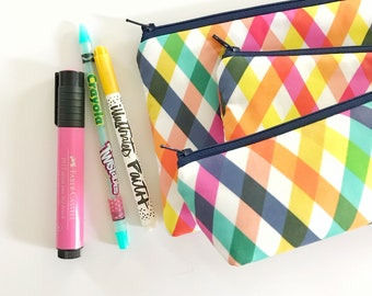 pencil pouch -- checkered summer