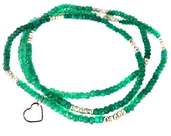 "Gemstone Beaded Chain with Heart Charm -- Finished 18"" Green Onyx and Silver Pyrite 4mm Bead Chain with Silver Lobster Clasp (A-2)"