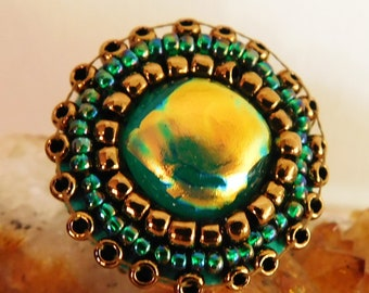 Adjustable Ring With Green and Gold Dichroic Glass and Beadwork