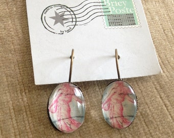 Vintage Postage Stamp Earrings // French Postage Stamp