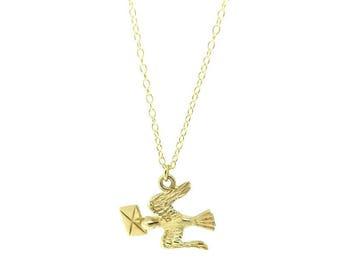 Vintage 1954 9ct Gold Bird Love Letter Charm Necklace