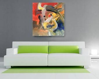 The Cow Canvas, African American Art, Canvas Art, Canvas Wall Art,Home Decor Art, Canvas Painting,Abstract Art, Wall Art