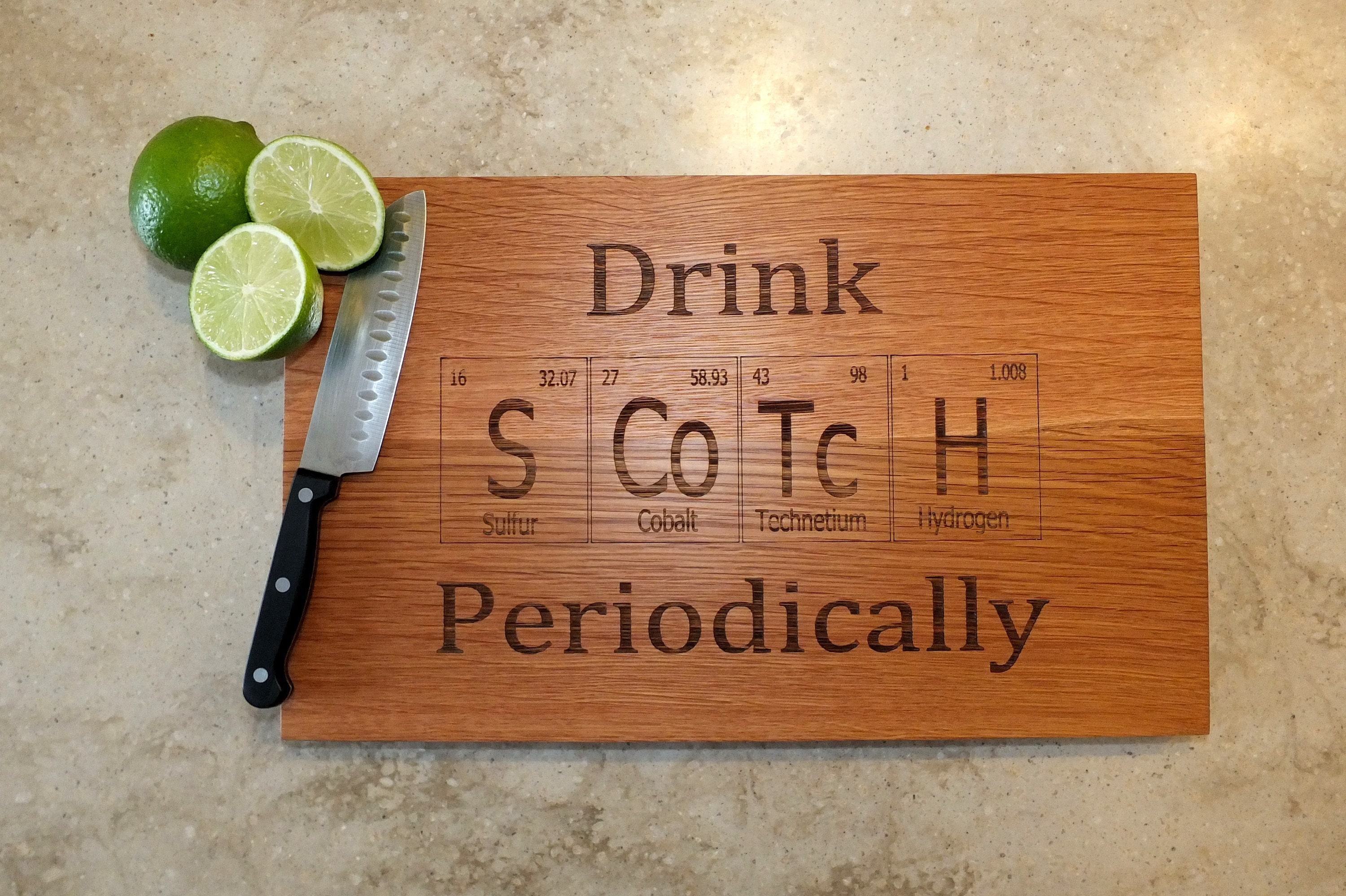 Drink scotch periodic table inspired cutting board engraved on maple 1 urtaz Images