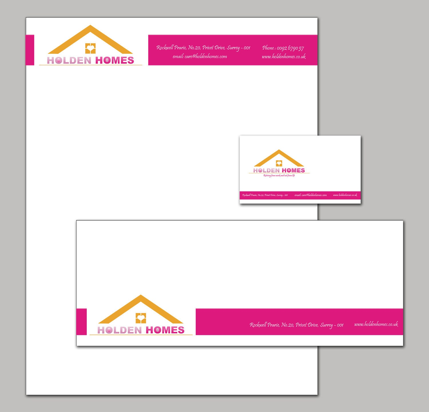 Company Branding Stationary set with a letterhead envelope