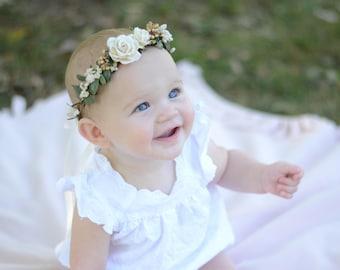 Ivory flower crown, flower crown, floral halo, floral crown,baby flower crown,bridal crown, maternity crown, flower girl crown, boho wedding