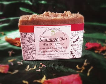 Shampoo Bar for Dark Hair or Natural Highlights Now with Silk 5 ounces