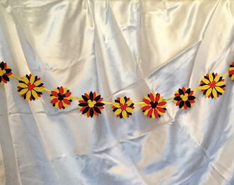 Mickey Mouse Flower Reversible Banner, Garland with Ribbon, Red-Yellow-Black Colorful Party Decor, Disney Party, Disney Wedding
