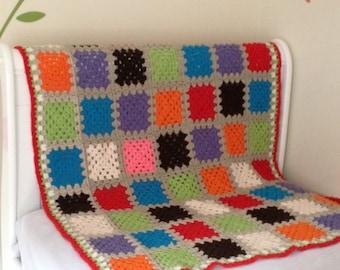 knitted baby afghan blanket, throw blanket, Crochet granny square baby blanket, crocheted blanket, crochet lap afghan, blankets and throws,
