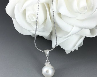 10mm Pearl Necklace Bridesmaid Gift for Her Bridesmaid Jewelry Budget Bridesmaid Jewelry Mother of the Bride Gift Mother of the Groom Gift