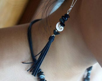 Black Tassel Earrings, Boho Shell Earrings, Balck Agate Stone Earrings,1 Set