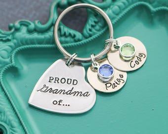 Grandma Gift from Grandkids Proud Grandma Gift • Birthday Grandma Custom Name Birthstone Keychain • Kids Name Last Minute Gift