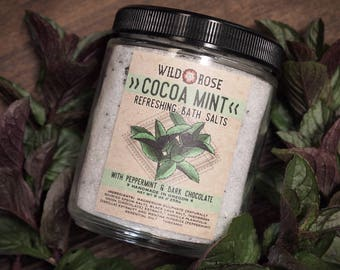 Bath Salts Natural Mineral-Rich COCOAMINT Oregon Peppermint + Dark Chocolate - 10oz Holiday Gift