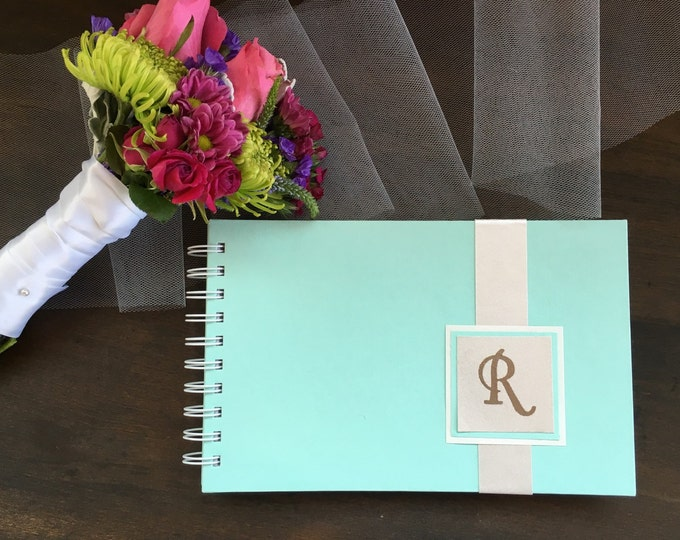 Handmade Personalized Wedding Guest book Seafoam