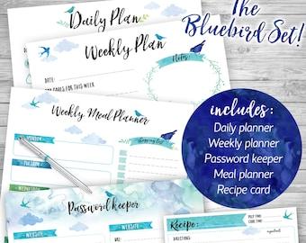 PRINTABLE planner SET of 5 printables - Bluebird set
