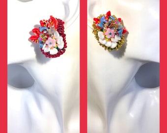 Stud bead embroidered earrings kimono Swarovski Japanese Czech beads