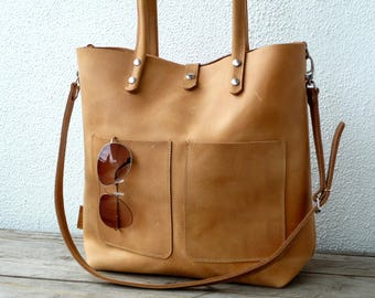 """Leather bag, laptop bag for 13"""" laptop, tablet bag, leather bag woman, large leather tote, modern laptop bag, Enie frontpocket - camel!"""