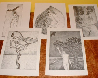 Intaglio Note Cards, blank inside 5x7, set of 5 assorted images
