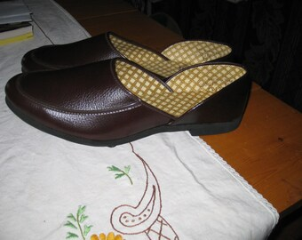 Mens Vtg 12 B Excelsior Hefner Style House SHoes Never worn Brown vtg house shoes free ship