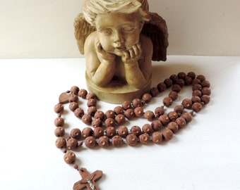 French Vintage Rosary/Vintage Large Wooden Rosary/French Vintage Large Wooden Hand Carved Rosary/Vintage Rosary/Vintage Nun's Rosary