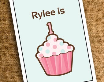 CUSTOM Cupcake Invitation flat 4x6 or 5x7