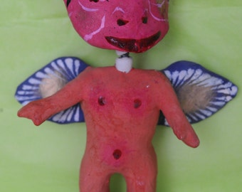 Hand painted Paper mache Mexican Devin Angel doll