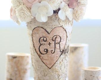 Personalized Birch Vase Rustic Custom Wedding Bridal Shower Christmas Gift (NVMHDA1129)