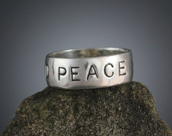 Sterling Silver World Peace Ring - Stamped Stacking Ring - Peace Jewelry - Word Rings - Hand Stamped - Sherry Tinsman