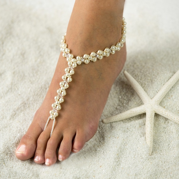 Tropical beach foot jewelry barefoot sandals wedding junglespirit Choice Image
