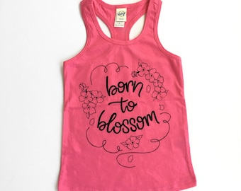 Born to Blossom tank - pink - babies toddlers girls tanks