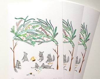 Musicans having a break - Limited edition A4 Giclee Prints, signed and numbered by Nana Sakata