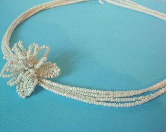 Bridal White Flower necklace