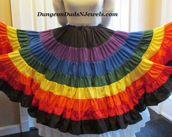 DDNJ Choose Your Color Multi Tier Skirt Plus Custom Made ANY Size Renaissance Belly Dance Pirate Gypsy Witch LARP Cosplay Costume Halloween