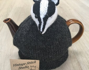 Badger Teapot Cosy - Hand knitted tea cosy - Tea Cozy - Badger Gift - knitted tea cosy - Tea Cosy