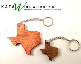 Texas Wood Key Chain Set of 2 - Handmade
