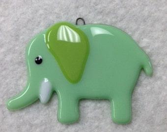 Elephant Fused Glass Ornament