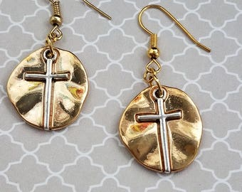 Gold Plated Rugged Circle Earrings with Raised Cross on Fish Hooks