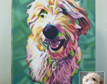 16in x 20in – Custom POP ART, ABSTRACT Pet Portrait Painting from Photo, Pet Oil Painting, Cat Painting, Memorial, Time-Lapse Frame Included