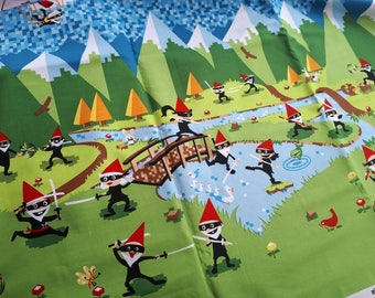 Ninja Gnomes by Michael Miller, Border Print, ONE METRE left!