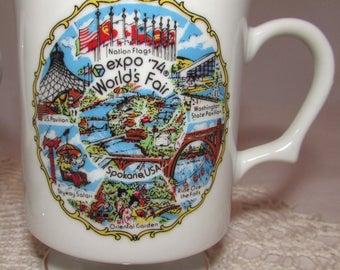 TWO - Vintage Souvenir Porcelain Ceramic 1974 Worlds Fair Expo Coffee Cups Mugs, Spokane Washington state