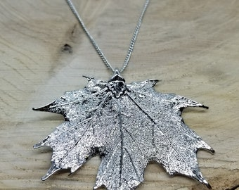 Fine Silver Dipped Real Maple Leaf Necklace Pendant Outdoor Rustic Nature Earth Jewelry Tree Plant (N221)