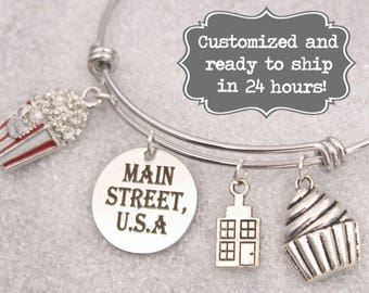 Main Street USA - DISNEY Inspired, Walt Disney World Disneyland, Bakery, Popcorn Custom Name Charm Bracelet, Adjustable Bangle, Personalized